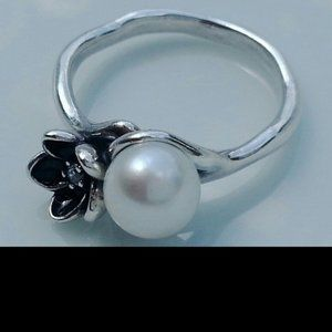 Silver Mystic Flower & Pearl Ring